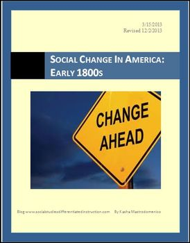 Social Change in America: Early 1800s Differentiated Instruction Lesson Plan