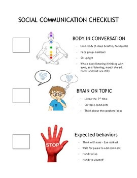 Social Communication Conversation Checklist