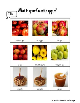 Social Communication Group/Individual Activity- What is your favorite Apple?