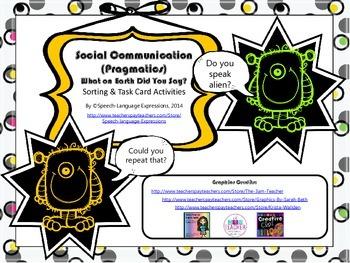 Social Communication (Pragmatics) Skills Task Cards and Activities