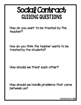 FREE Social Contract {poster & guiding questions}