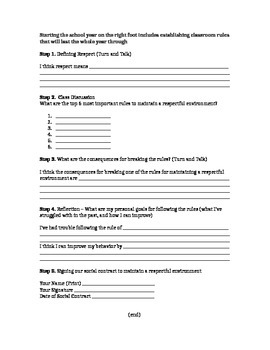 Social Contract For Maintaining an Orderly Classroom