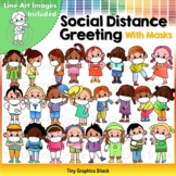 Social Distance Greetings With Masks Clip Art