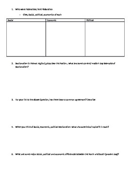 Social Economic and political sectionalism Graphic organizer