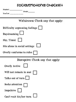 Social/Emotional Checklist