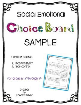Social Emotional Choice Board SAMPLE