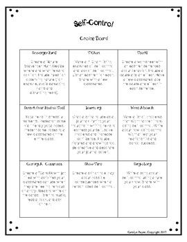 Social Emotional Choice Board SAMPLE