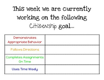 Social/Emotional/Citizenship Goals