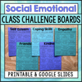 Social Emotional Learning Activities - Class Challenge Boards