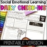 Social Emotional Learning Daily Check-Ins - Printable Version