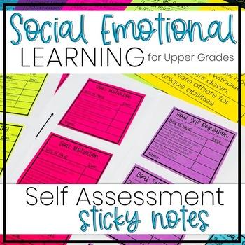 Social Emotional Learning Self Assessment - Sticky Notes - Upper Grades