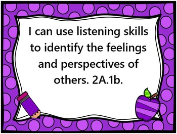 """Social Emotional Learning Standards, """"I Can"""" Statements, E"""