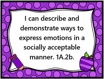 """Social Emotional Learning Standards, """"I Can"""" Statements, L"""