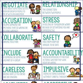 Social Emotional Word Wall   SEL Vocabulary   Social Emotional Vocabulary