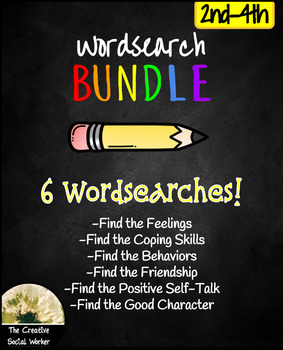 Social/Emotional Wordsearch Bundle 2nd-4th: Feelings, Friendship, Coping, etc.
