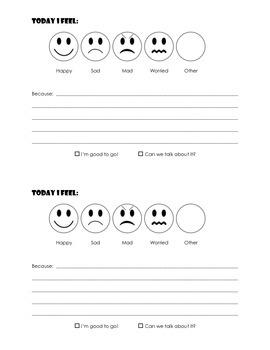 Social Emotional check in (identifying feelings)