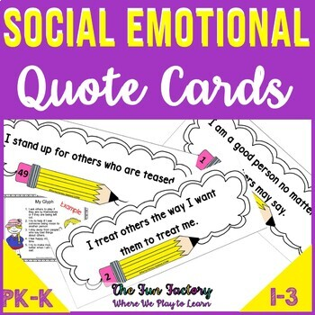 Social Emotional  Character Education Anti-Bullying Quote Cards and Activities