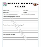 Social Games Recording Sheet