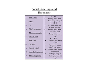 Social Greeting's and Farewell's