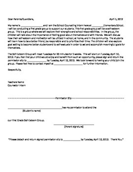 Social Group Counseling Parent Permission Letter