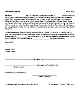 Social Group Counseling Parent Permission Letter