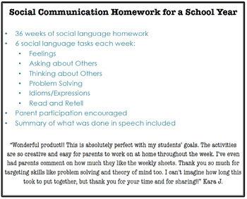 Social Communication Homework for a School Year