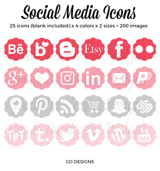 Social Media Icons - Blog Buttons - Periscope, Blogger, WordPress, Pinterest