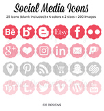 Social Media Icons - Blog Buttons - Periscope, Blogger, WordPress, Pinterest