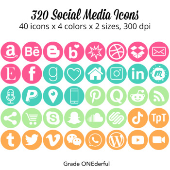 Social Icons: Periscope, Snapchat, Instagram, Blogger, WordPress