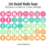 Social Media Icons Aqua Green Orange Pink
