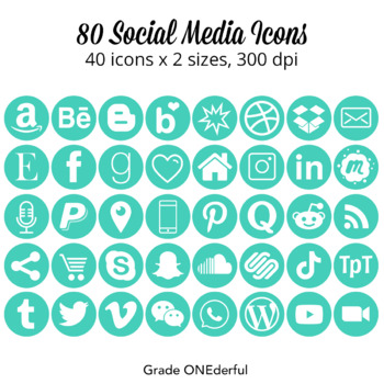 Social Icons: Round, Green, 25 Icons, Great for Blogs and Product Pages