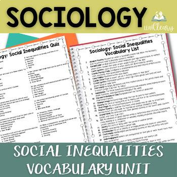 Social Inequalities Sociology Vocabulary Unit