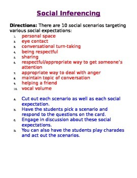 Social Inferencing/Social Expectations