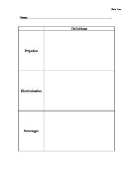 Social Issue Lesson Plan: Prejudice, Discrimination & Stereotyping