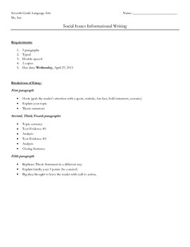 Social Issue Research Essay Requirements
