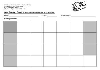 Social Issues in Literature - Literature Circle - Activities