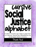 Social Justice Alphabet Watercolor Cursive