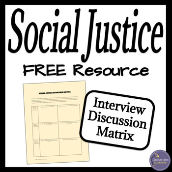 Social Justice Free Discussion Activity for Middle and High School Students