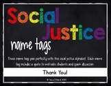 Social Justice Name Tags Chalkboard and Rainbows