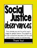 Social Justice Observances Calendar Pieces