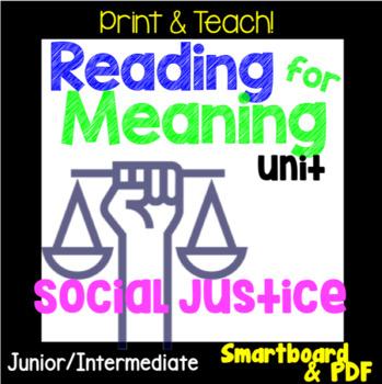 Social Justice S.L.A.M. Reading Response Unit, Smartboard & PDF