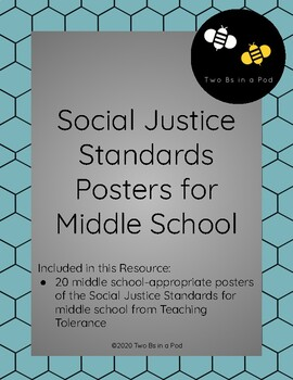 Social Justice Standards for Middle School - Wall/ Bulletin Board Display