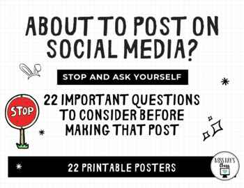 Social Media: 22 Questions to Ask Before Posting - Digital Citizenship Posters