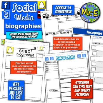 Social Media Biographies! Four engaging, fun, & popular social media templates!