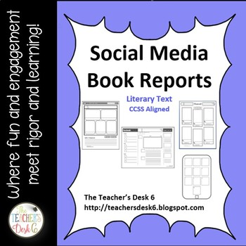 Social Media Book Report Templates By The TeacherS Desk   Tpt
