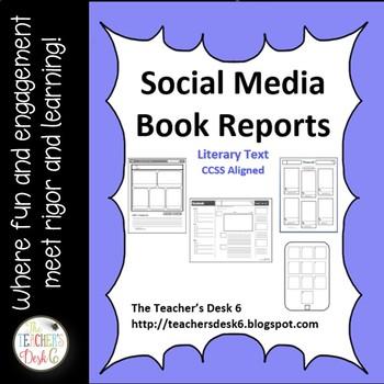 Social Media Book Report Templates By The TeacherS Desk   Tpt