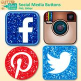 Social Media Button Clip Art {Facebook, Instagram, Pinterest, Twitter Graphics}