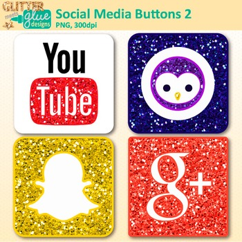 Social Media Button Clip Art | YouTube, Snapchat, Google Plus, Blab Graphics 2