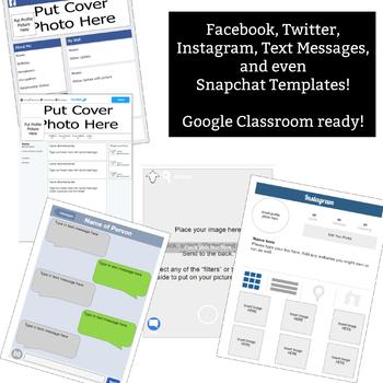 Social Media Characterization Template Worksheet - 5 platforms included!