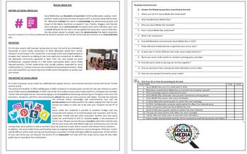 Social Media Day - Reading Comprehension and Vocabulary Worksheet